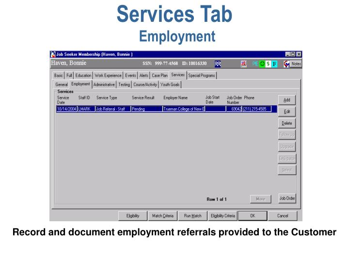 Services Tab