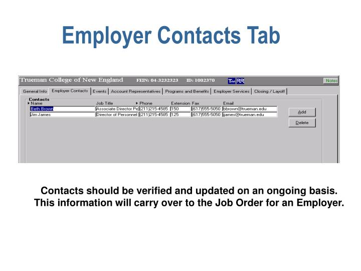 Employer Contacts Tab