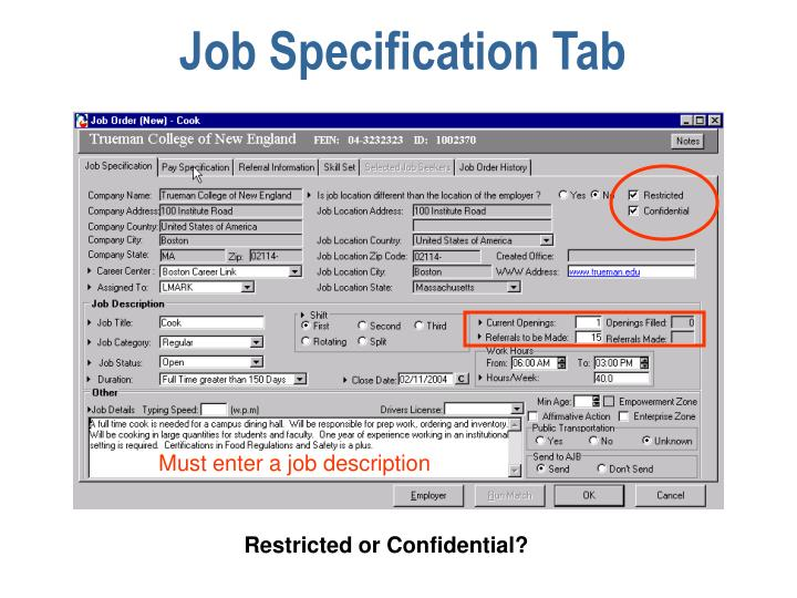 Job Specification Tab