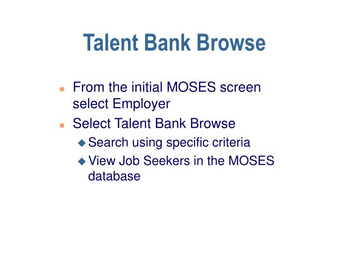 Talent Bank Browse