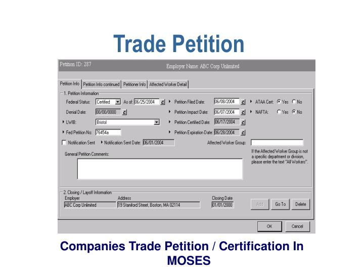 Trade Petition