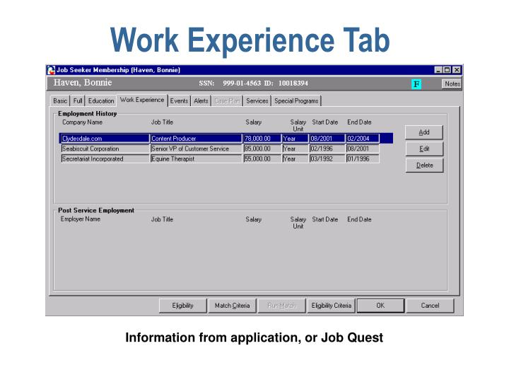 Work Experience Tab