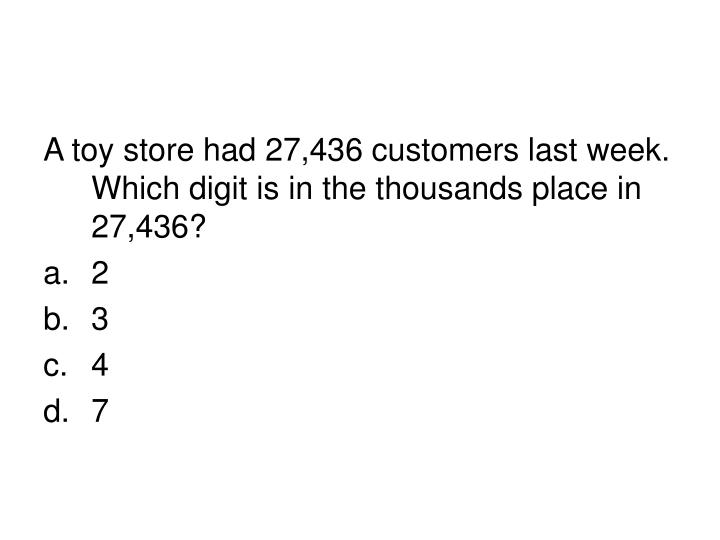 A toy store had 27,436 customers last week. Which digit is in the thousands place in 27,436?