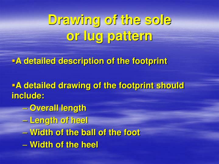 Drawing of the sole or lug pattern