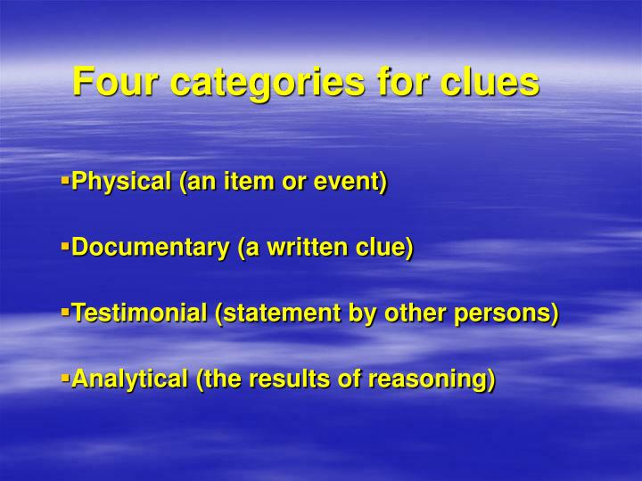 Four categories for clues