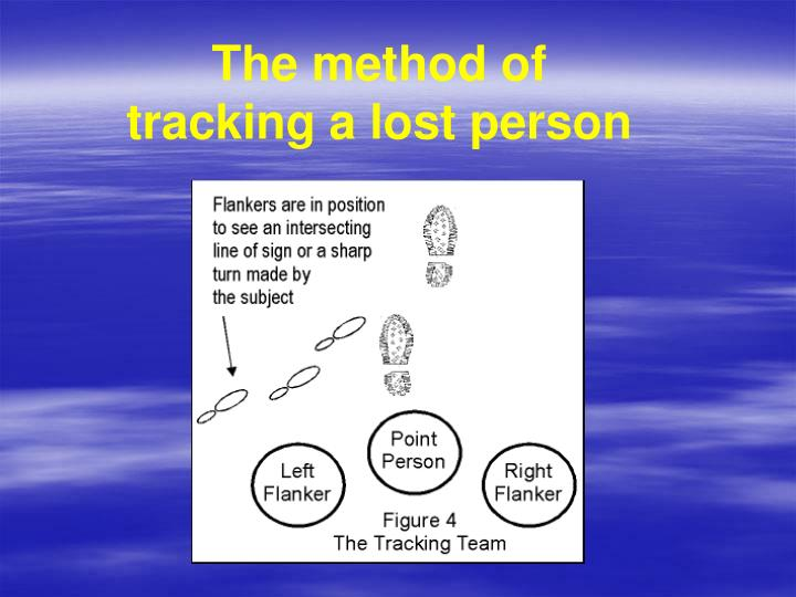 The method of tracking a lost person