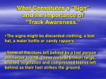 what constitutes a sign and the importance of track awareness