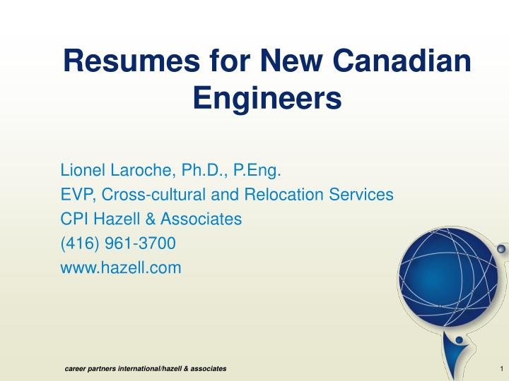 Resumes for New Canadian Engineers