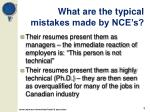 what are the typical mistakes made by nce s
