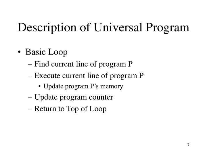 Description of Universal Program