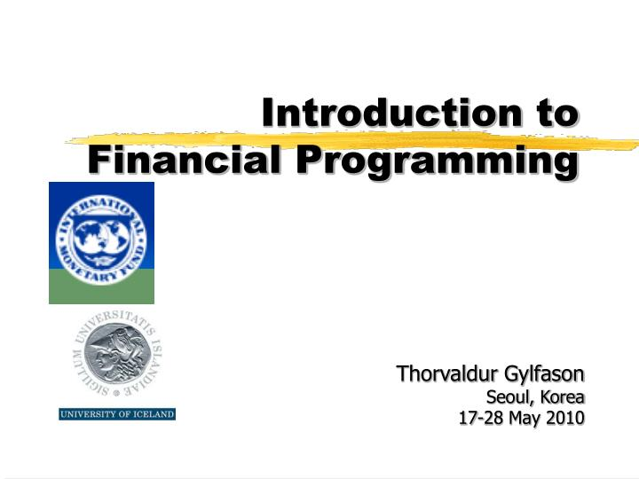 Introduction to financial programming