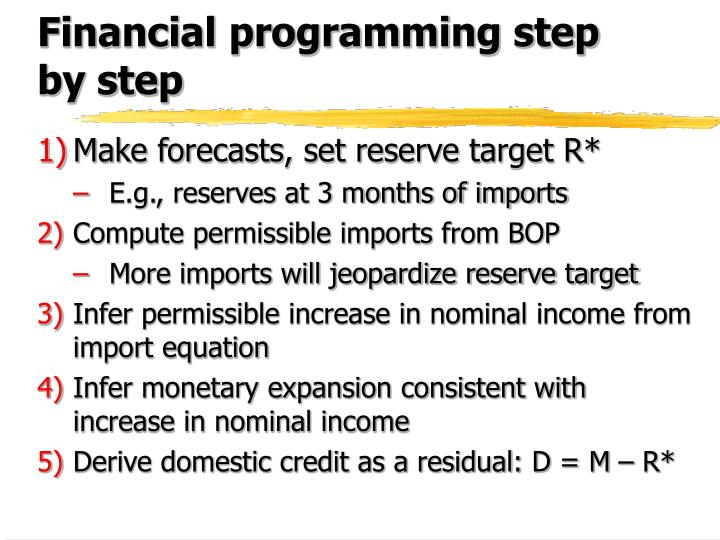 Financial programming step by step