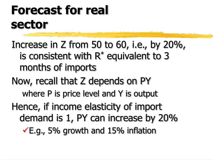 Forecast for real sector