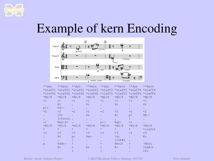 Example of kern Encoding