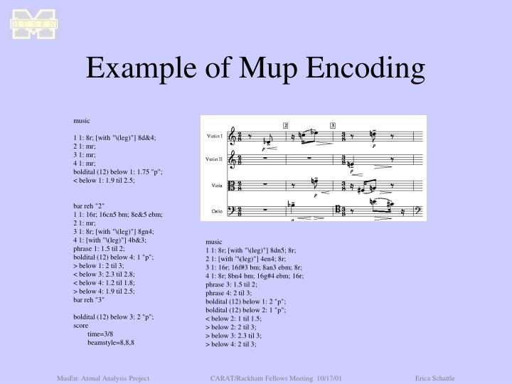 Example of Mup Encoding