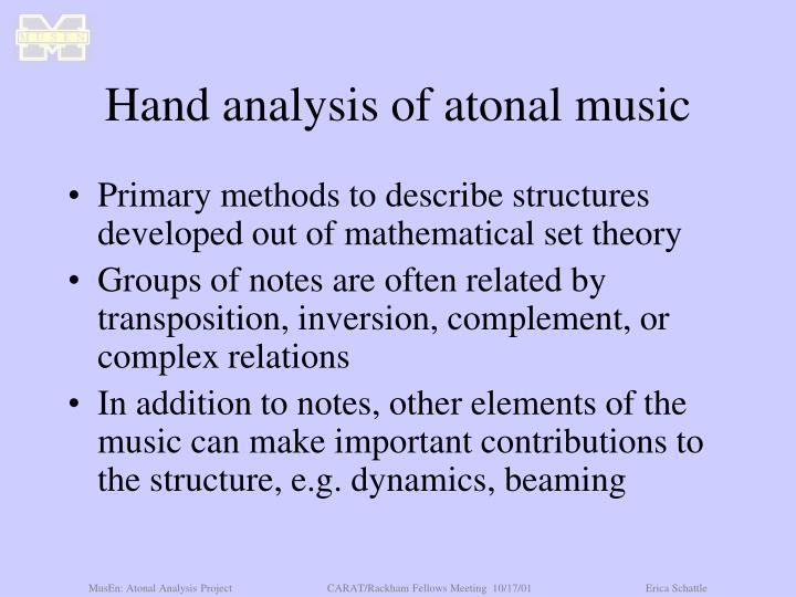 Hand analysis of atonal music