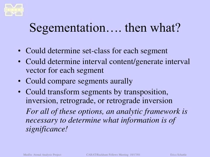 Segementation…. then what?