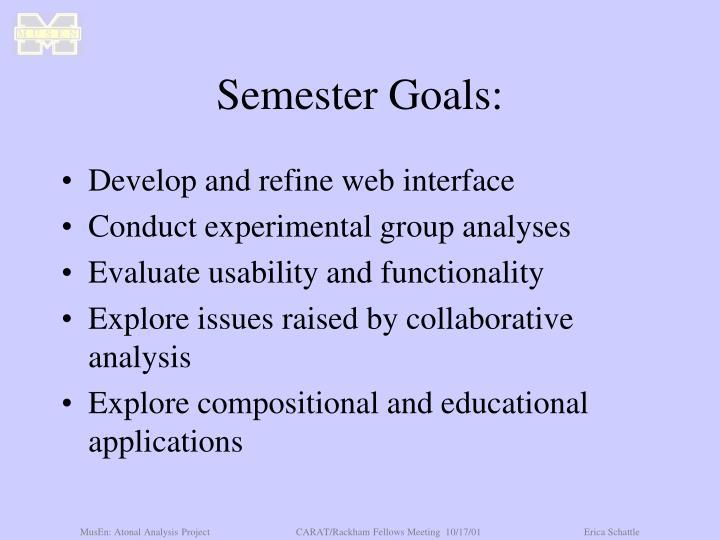 Semester Goals:
