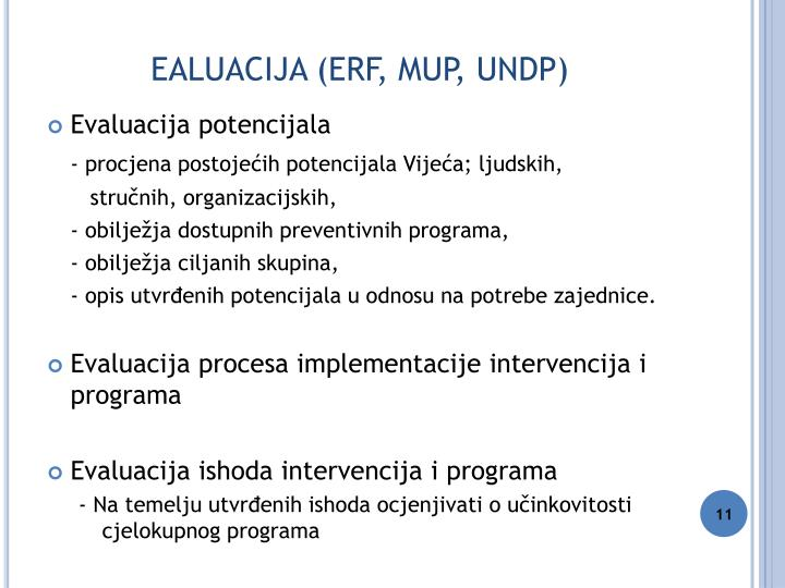 EALUACIJA (ERF, MUP, UNDP)
