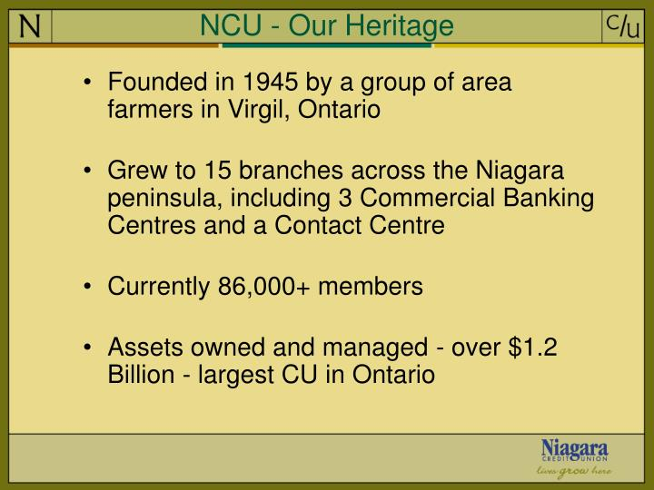 NCU - Our Heritage