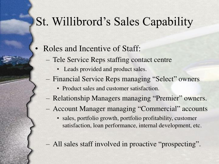 St. Willibrord's Sales Capability