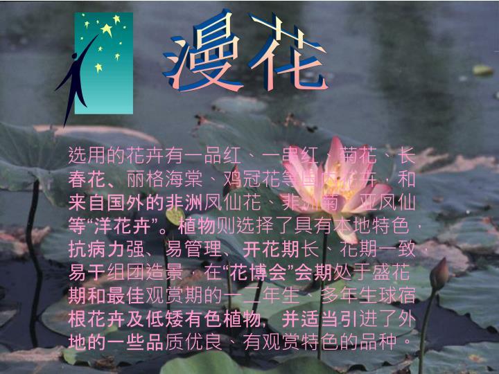 """选用的花卉有一品红、一串红、菊花、长春花、丽格海棠、鸡冠花等国内花卉,和来自国外的非洲凤仙花、非洲菊、亚凤仙等""""洋花卉""""。植物则选择了具有本地特色,抗病力强、易管理、开花期长、花期一致,易于组团造景,在""""花博会""""会期处于盛花期和最佳观赏期的一二年生、多年生球宿根花卉及低矮有色植物,并适当引进了外地的一些品质优良、有观赏特色的品种。"""