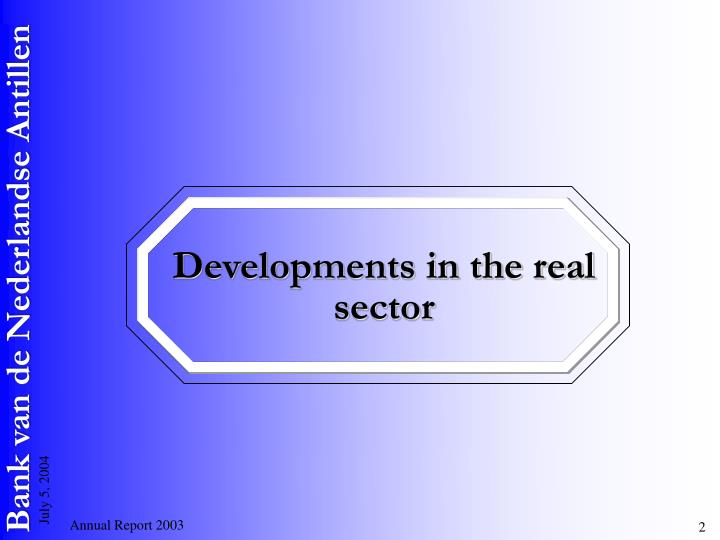 Developments in the real sector