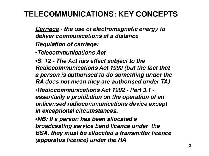 TELECOMMUNICATIONS: KEY CONCEPTS