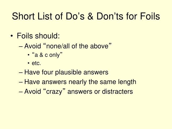 Short List of Do