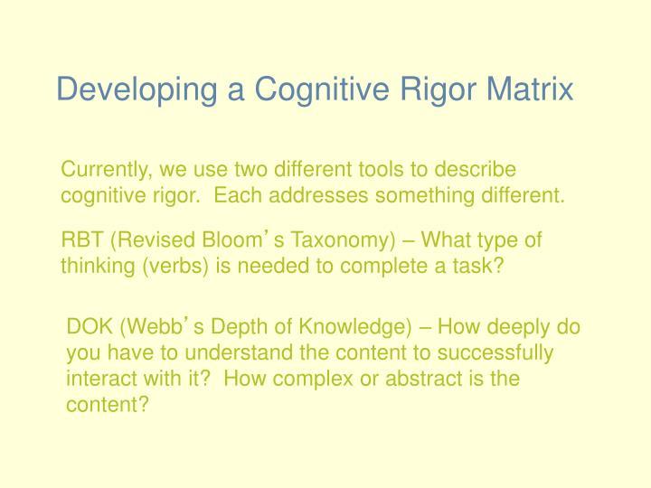 Developing a Cognitive Rigor Matrix