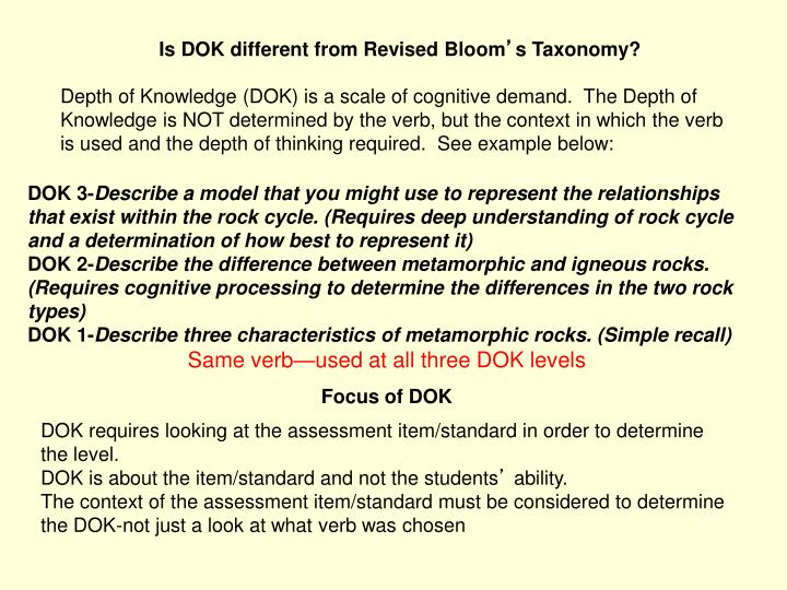 Is DOK different from Revised Bloom