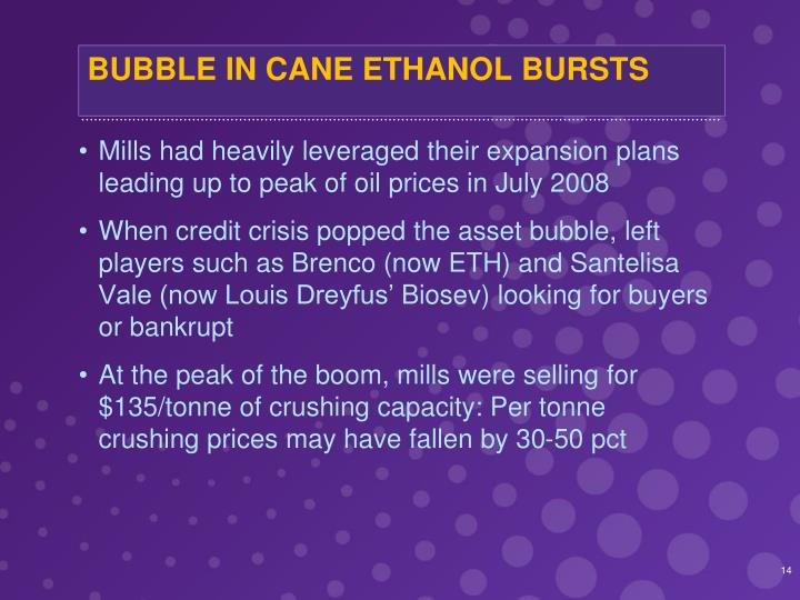 BUBBLE IN CANE ETHANOL BURSTS