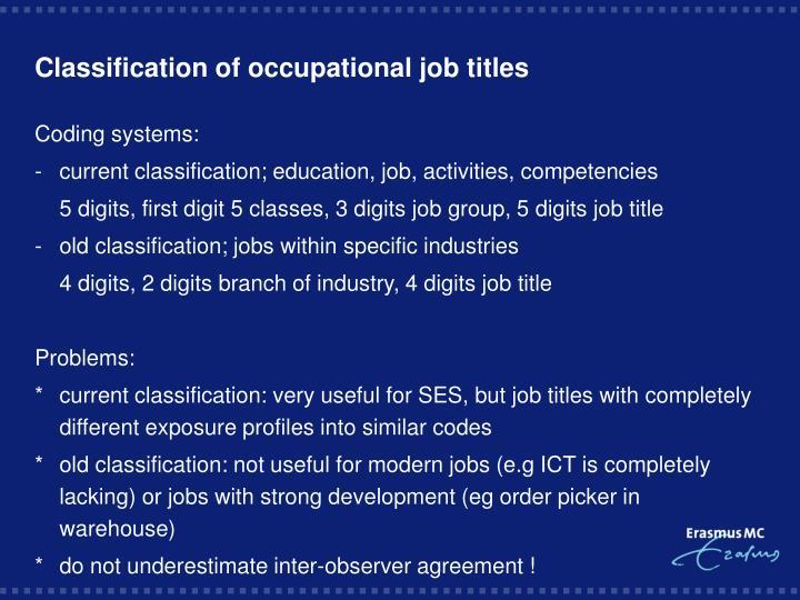 Classification of occupational job titles
