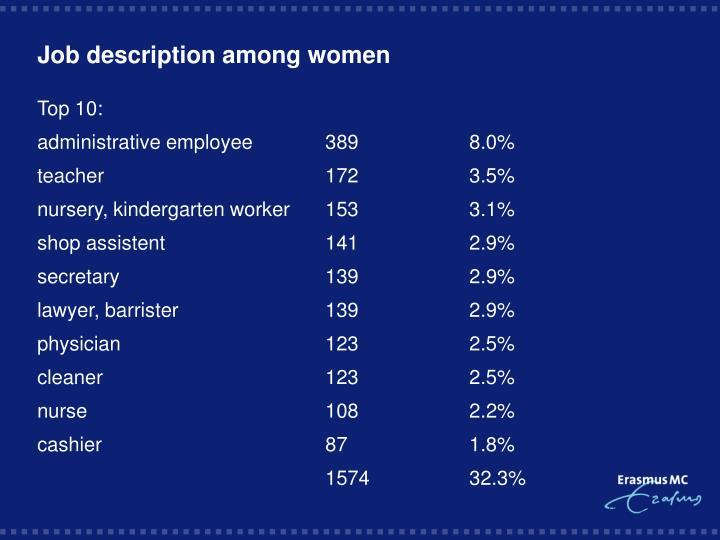 Job description among women