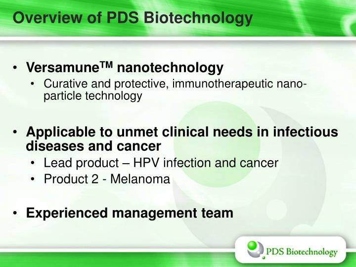 Overview of PDS Biotechnology