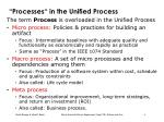processes in the unified process