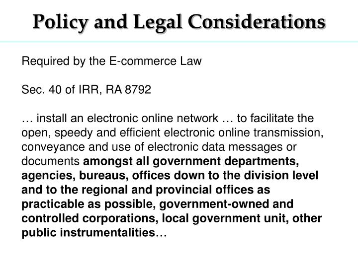 Policy and Legal Considerations