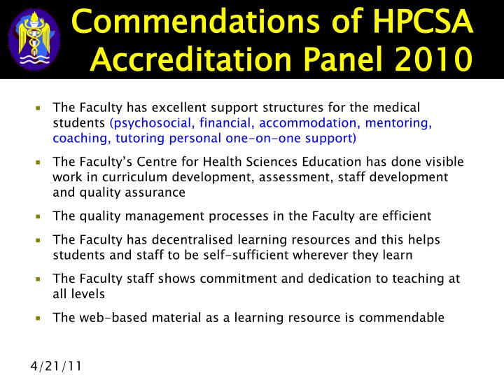 Commendations of HPCSA Accreditation Panel 2010