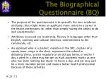 the biographical questionnaire bq