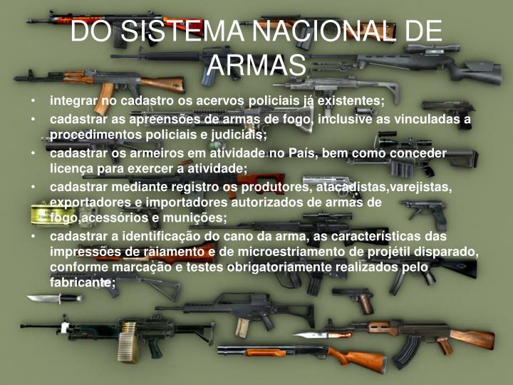 DO SISTEMA NACIONAL DE ARMAS