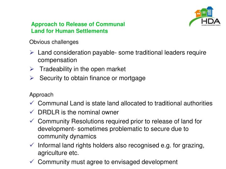 Approach to Release of Communal Land for Human Settlements