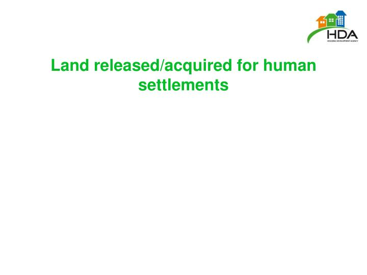 Land released/acquired for human settlements