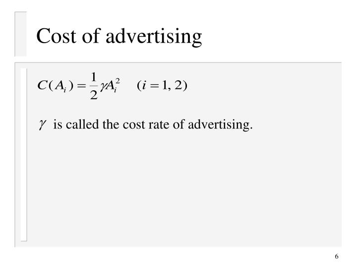 Cost of advertising