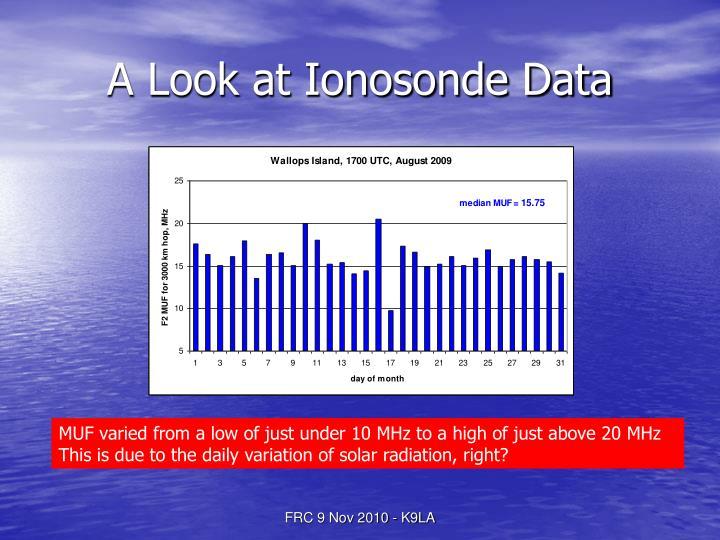 A Look at Ionosonde Data