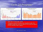 cycle 24 progress