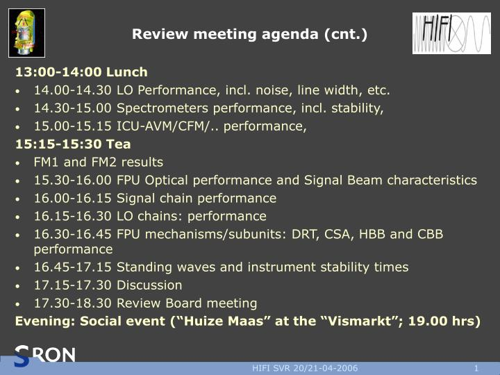 Review meeting agenda cnt