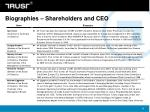 biographies shareholders and ceo