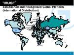 established and recognised global platform international distribution