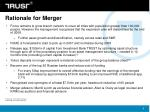 rationale for merger