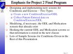 emphasis for project 2 final program